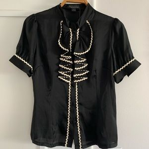 NWT Black ruffle blouse with cream trim